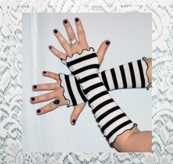 Black and White Striped Fingerless Gloves Ruffled Arm Warmers Eco Friendly