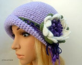 Chunky Crochet Womens Ladies Teens 192O Elegant Flapper Cloche beanie brimmed Hat Lavender Wool Vintage Style