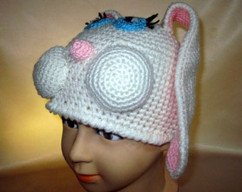 Bunny Rabbit costume Hat Animal Crocheted Funny Boys Girls childs kids White Pink Baby Acrylic Crochet Winter  Bunny Easter  gift