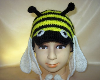 Funny silly Animal Crochet costume Hat Hornet Bee Bumblebee Boys Girls child kid Acrylic Black Yellow Earflap Woodland Costume Hat 3,4,5 age