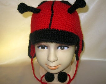 Ladybird costume Hat Animal Crochet Ladybug funny silly Unisex Boys Girls child kid Winter Spring Red Black Easter gift 3,4,5 age