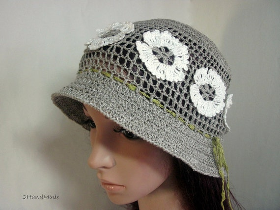 Woman Lace Crochet Ladies Vintage Sun Cloche Bucket Hat Pure Unbleached Linen Flax White Flowers Double Brimmed Summer Spring
