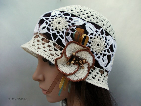 OOAK Irish Lace Crochet Women Ladies Vintage Style Romantic Victorian Wedding Cloche Beanie Bandana Hat Ivory Milk White Spring Summer