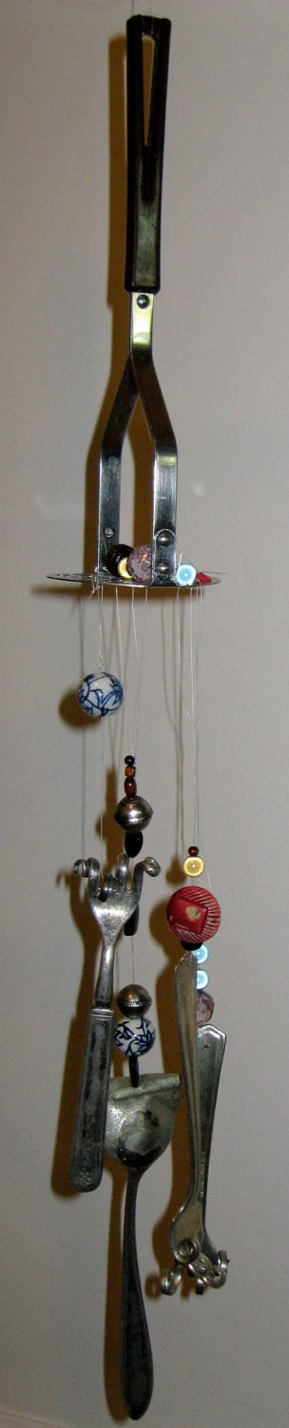 unique fork and spoon wind chime with masher kitchen decor