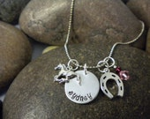Custom Hand Stamped Horse and Horse Shoe Charm Necklace for Toddler, Girl, or Teen