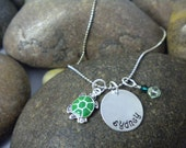 Custom Hand Stamped Turtle Charm Necklace for Toddler, Girl, or Teen