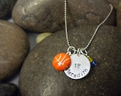 Custom Hand Stamped Basketball Charm Necklace for Toddler, Girl, Or Teen