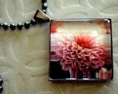 Glass Tile Pendant With Original Pink Chrysanthemum Photo