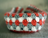Crochet Camera Strap Cover in Coral, Grey, and White