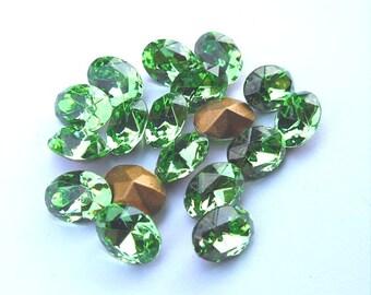 18 Peridot Swarovski 8x6mm Oval rhinestones-bulk rhinestones-wholesale rhinestones-jewelry supplies-loose rhinestones Swarovski
