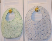 Retro Puppy Print Reversible Snap Bibs--Free US Shipping