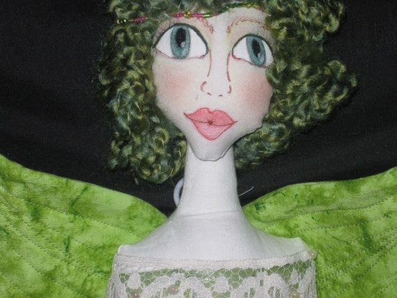 Green Butterfly or Angel Doll Wall Hanging or Door Decoration