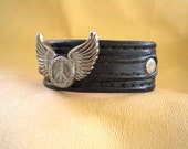 Leather Wristband-Bracelet-Handmade with Winged Peace Sign Concho-Free Shipping