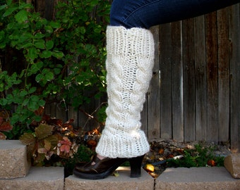 Leg Warmers Cream Knitted Leg Warmers Hand Knit Cabled Legwarmers