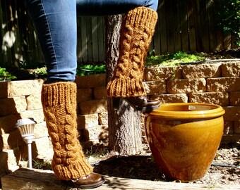 Leg Warmers Golden Brown Hand Knitted Leg Warmers in Hazelnut