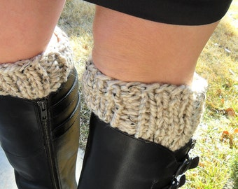 Boot Cuffs Light Beige Oatmeal Hand Knit Boot Cuff