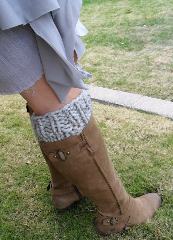 Boot Cuffs - Knitted Boot Cuffs in Gray / Grey - Hand Knit Wool / Acrylic Blend Legwarmer Bootcuffs