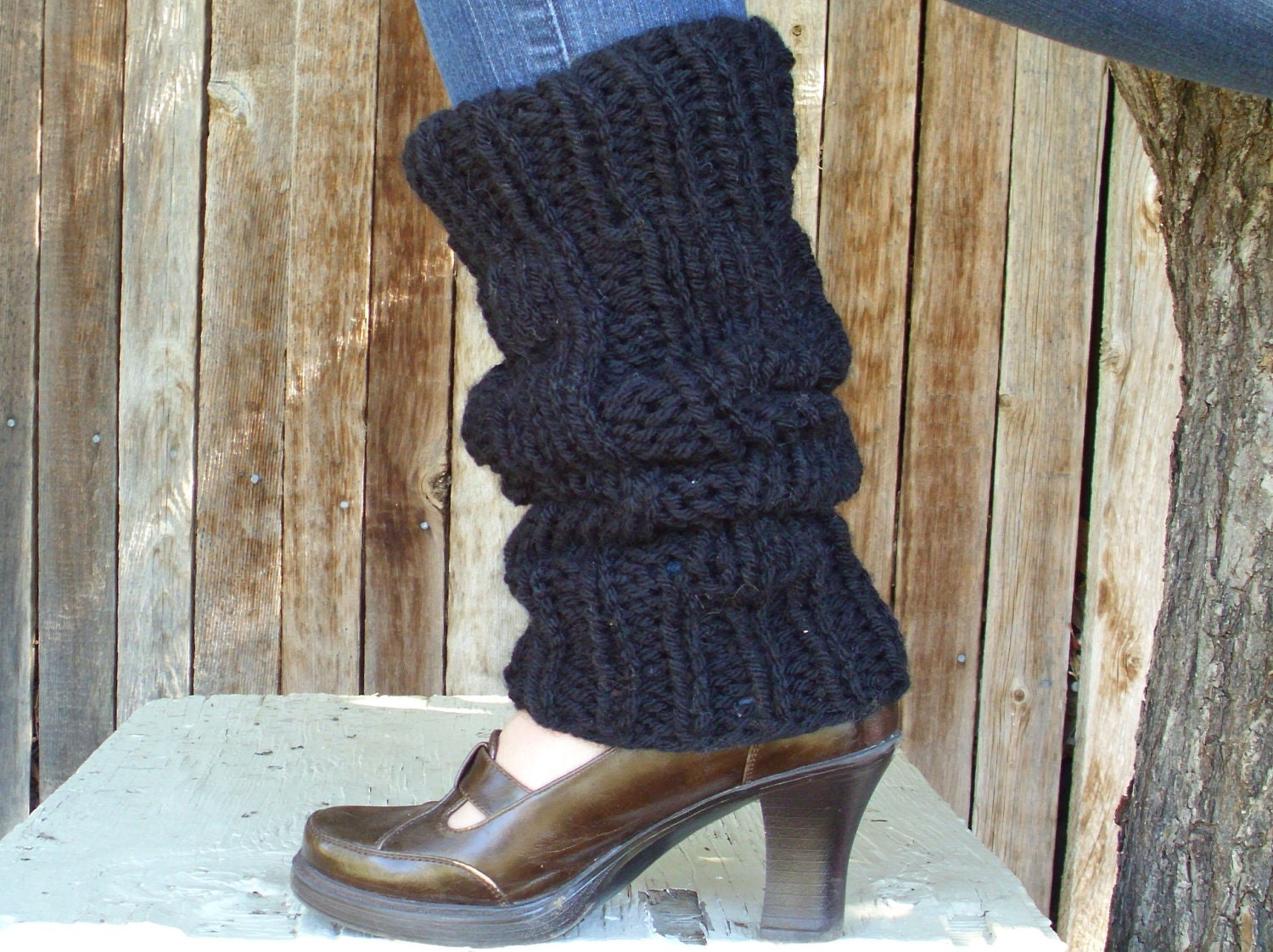 Knitting Pattern Leg Warmers Bulky Yarn : Black Leg Warmers Hand Knitted Chunky Leg Warmers