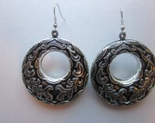 Antique Style Black and Silver Dangle Earrings