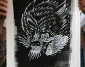 Wolf Screenprint black and white