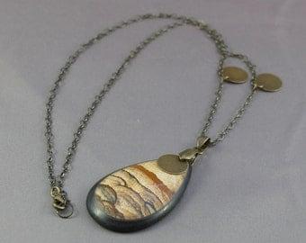 Necklace - Owyhee Picture Jasper Intarsia Teardrop w/Brass Accents