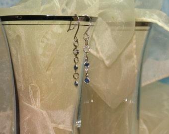 Earrings - Sterling Silver and 3 Swarovski Crystal Dangles