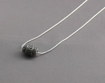 Necklace - Sterling Silver and Black Marcasite Focal Bead