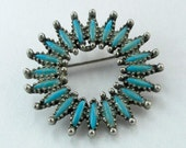 Vintage Circle Brooch Faux Turquoise Silver Tone