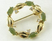 Vintage Circle Brooch Pin Faux Jade Clear Rhinestones Gold Tone