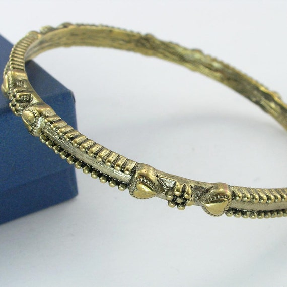 Vintage Bangle Bracelet Hearts and Flowers Gold Tone