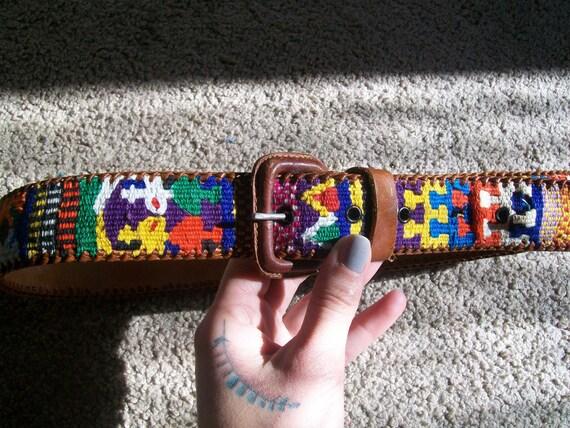 Tribal Bright  Multicolored Embroidered Handmade Leather  Unisex Belt