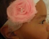 Light Pink Shabby Chiffon Flower Headband - Newborn