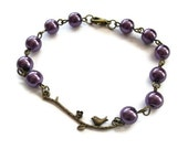 Purple Pearl Bracelet, Brass Branch Beaded