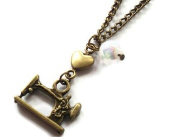 Sewing Machine Necklace, Brass Loveheart and White Glass Pearl