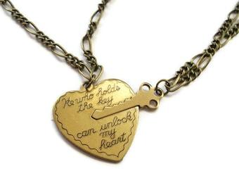 Key to Heart Necklace,  Brass Vintage Style Romantic Necklace Set