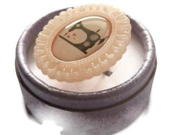 Sewing Machine Ring, Peach Cameo