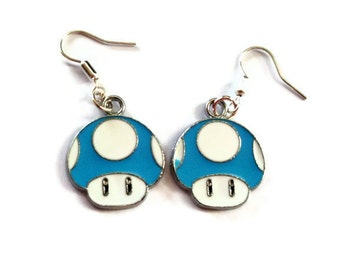 Super Mario Earrings, Blue Mushroom