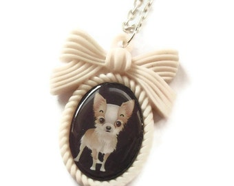 Chihuahua Necklace, Kawaii Cream Cameo
