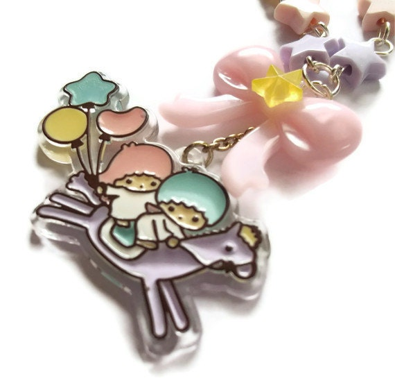 Fairy Kei Pastel Star Necklace, Little Twin Stars Kawaii Beaded