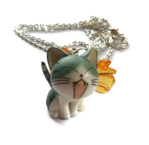 Cat Necklace, Cute Kawaii Kitty Necklace