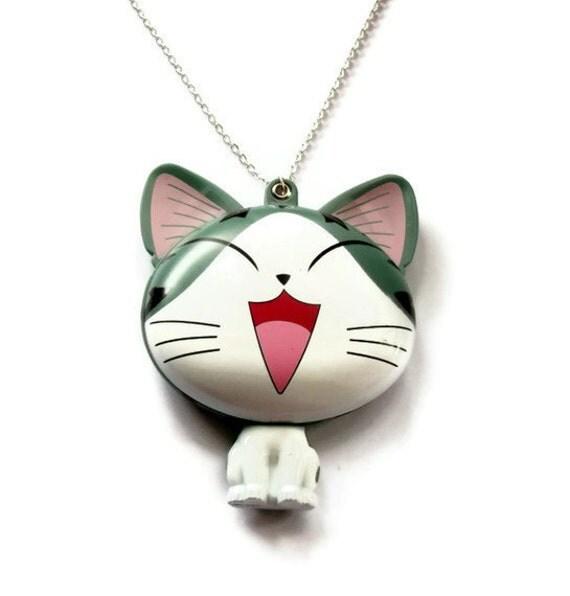Kawaii Cat Mirror Necklace, Compact Hand Mirror