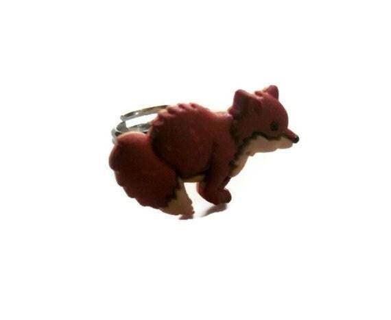 Kawaii Ring, Ginger Fox, Kitsch Woodland Animal