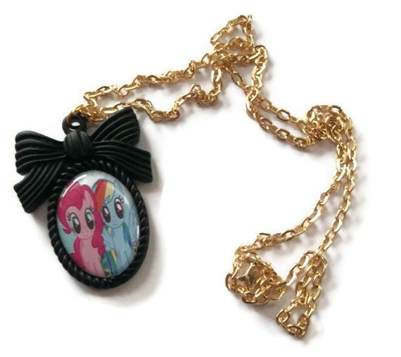 My Little Pony Necklace, Friendship is Magic Cameo, Pinkie Pie and Rainbow Dash