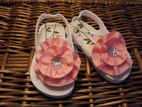 Pink Ribbon Flower on White Toddler/Girl Flip Flop Sandals--Toddler Sizes- 10