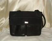 Original Don Loper of Beverly Hills Black Leather / Canvas Shoulder Tote