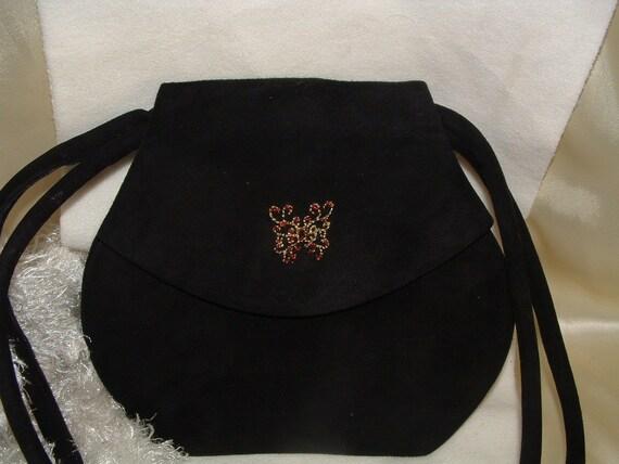 Beltrami Black Suede Shoulder Bag
