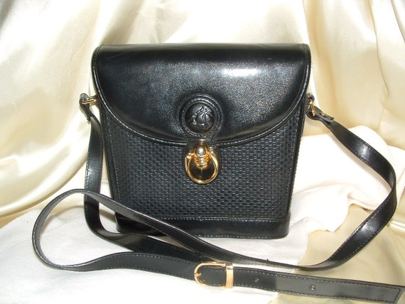 Black Cross Body, Bucket Style Basketweave Handbag