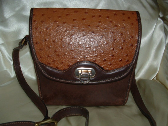 RESERVED:  Brown Leather Cross-Body Bag with Faux Ostrich