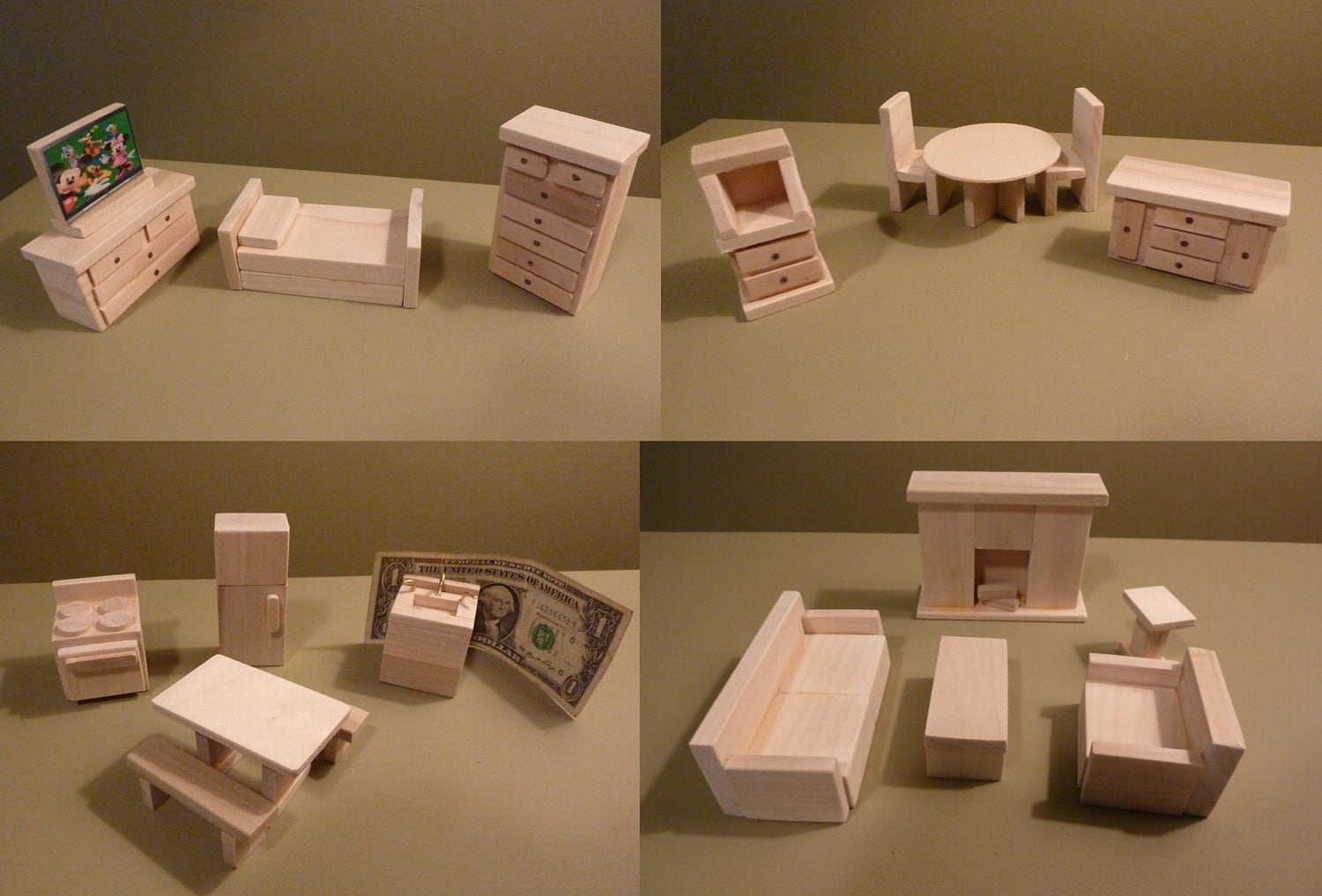 Wooden Dollhouse Furniture Hand Crafted New