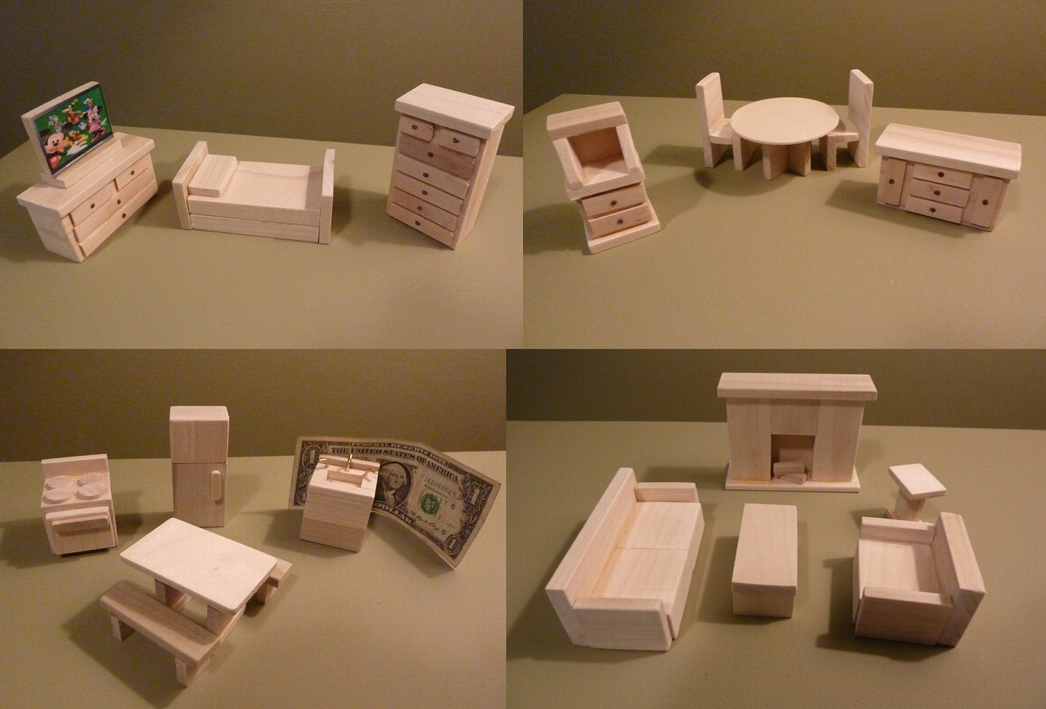 Wooden Dollhouse Furniture Hand Crafted New: dollhouse wooden furniture